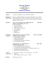 Medical Assistant Objective For Resume Cover Letter Sample