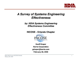 Ppt A Survey Of Systems Engineering Effectiveness By Ndia