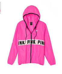 victoria s secret pink anorak full zip pink windbreaker jacket med victoria s secret anorak full zip pink cad ❤ liked on polyvore featuring outerwear jackets tops pink pink jacket anorak jacket slim fit jackets