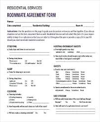 Roommate Agreement Contracts Apartment Roommate Agreement Form Sample 9 Examples In Word