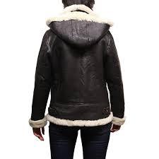 las women s cream hooded aviator real shearling sheepskin flying leather jacket coat callie