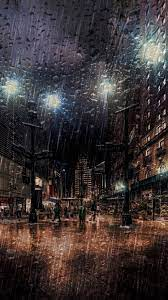Night, Street, Heavy Rain, - 750x1334 ...