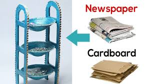 how to make desk organizer with newspaper cardboard waste material craft diy utility stand