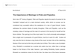 importance of marriage in pride and prejudice a level english  document image preview