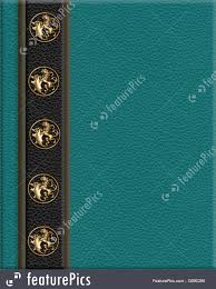 old book cover template templates leather look border brass lions stock illustration