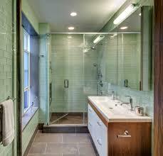 Subway Tile Floor Kitchen Green Glass Subway Tile Spaces Modern With Concrete Coretec