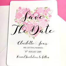 Save The Date Designs Save The Date Cards Love Hearts Floral Design Pack Of 10