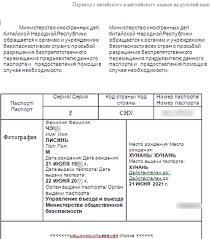 Нотариальный перевод паспорта с китайского на русский Образец заверенного перевода китайского паспорта