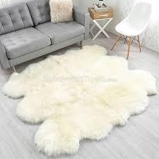large ivory white sheepskin rug 6 pelt to 5 5x6 ft