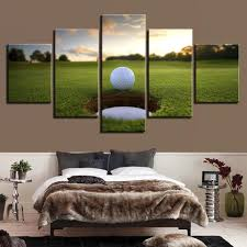 5 pieces golf ball course canvas arts it make your day on golf wall art near me with 5 pieces golf ball course canvas wall art paintings for sale it