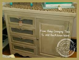 Repurposed Kitchen Island From Baby Changing Table To Wet Bar Kitchen Island