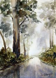 watercolour painting fog and mist on mt hotham road