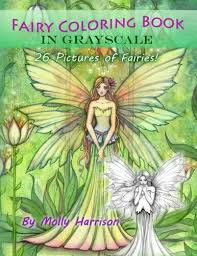 Fairy Coloring Book In Grayscale Adult Coloring Book By Molly