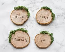 wedding place cards rustic place settings wooden wedding favours wood slice place names woodland wedding moss cards uk