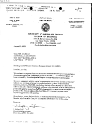 Nevada Division Of Insurance Letter Re Progressive Halcyon