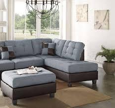 blue brown faux leather sectional sofa set 2pcs f6858 poundex modern order