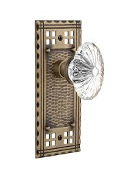 nostalgic warehouse craftsman plate privacy oval fluted crystal glass door knob in antique brass nw 714764
