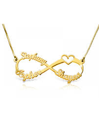 solid 14k gold infinity love name necklace