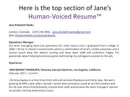 Here Is The Top Section Delectable Human Voiced Resume