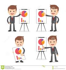 Occupation Chart Pictures Funny Cartoon Businessman With Chart Stock Vector