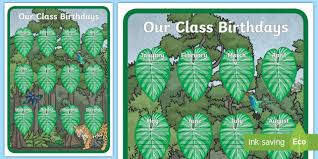 Chart Jungle Jungle Themed Our Birthday Chart Display Poster Classroom