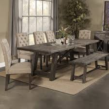 rustic style leaves print dining table decoration quick view todd creek extendable dining table