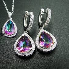 2019 dj ch rainbow fire mystic topaz pendant charm earrings set 925 sterling silver jewelry sets for women from buafy 31 36 dhgate com