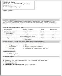 Resume Samples For Freshers Resume