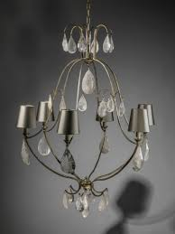 6 arm wrought iron simple chandelier with rock crystal drops