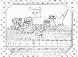 Kleurplaat Van Doosjes Met Polkadot Stippen En Een Lieve Poes