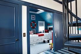 view in gallery bright blue barn style door for the modern nautical themed kids room from our