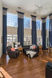 Two Story Living Room Curtains Two Story Great Room Update Tall Window Treatments Drapery