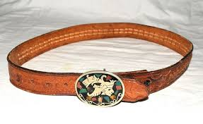 details about vtg mexican sterling silver aztec w stones buckle tooled leather belt 31 35