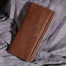 new leather men eagle pattern bifold purse designer cash coin pocket real cowhide card holder vintage
