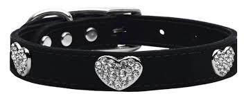 home collars bling collars crystal heart collars crystal heart genuine leather dog collar crystal heart genuine leather dog collar black 18