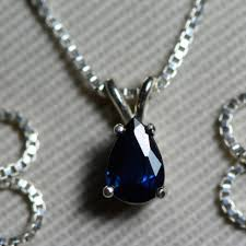 sapphire necklace blue sapphire pendant 0 57 carat appraised at 450 00 september birthstone genuine sapphire jewellery pear cut