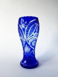 bohemian crystal vase cobalt blue cut to clear xl