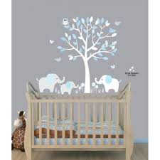 blue nursery jungle wall decals with elephant wall decal for boys rooms