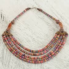 artisan multicolor bead necklace with wood agate and leather multicolor wend panga