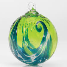 mt st helens volcanic ash hand blown art glass ornament aqua wave 3 diameter pacific northwest