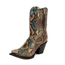 details about corral women s python short top snip toe cowgirl boots c2798 leather sole