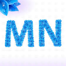 Blue Letters Natural Font Made Of Blue Leaves With Dew Drops Letters M And N Stock Vector Image