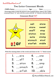 Free esl phonics worksheets (beginner to advanced): Two Letter Blends Aussie Childcare Network