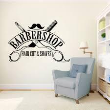 Hair Cutting Salon Interior Design Hair Cut Shaves Logo Wall Window Decals Barbershop Sign Wall Sticker Hair Salon Decor Removable Haircut Wall Vinyl Mural Ay1581