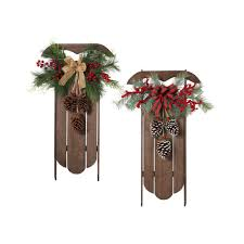 h wood hanging sleigh wall hangings with pine and berry accent