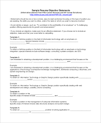 Examples Of Objective Statements On Resumes Sample Objective Statement For Resume 9 Examples In Pdf