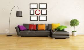 Modern Living Room With Black Sofa And Colorful Cushion - Black couches living rooms
