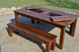 outdoor wood table with back