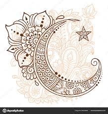 религиозные исламский символ звезда полумесяц цветком стиле менди