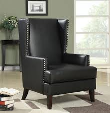 coaster 902078 high back on pin trimmed black leather like vinyl upholstered side accent chair